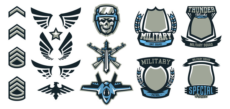 Set of military and military badges. Emblems, automatic weapons, skull, ammunition, eagle, wings, templates. Vector illustration, printing on T-shirts