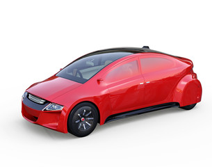Red autonomous vehicle isolated on white background. 3D rendering image. Original design.