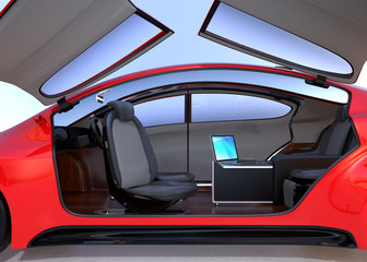 Self driving car interior concept. The sliding table support laptop computer while driving on the road. Door window could set from transparent to opaque. 3D rendering image.