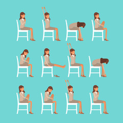 Vector illustration of chair sun salutation positions. Woman in suit doing yoga at work. Office worker doing Surya namaskar asana. Workout picture on blue background.