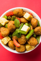 Soya chunks 65 or soya chunk fry is a healthy snack, easy to cook, protein rich, vegetarian dish ideal for starters. popular indian food. selective focus
