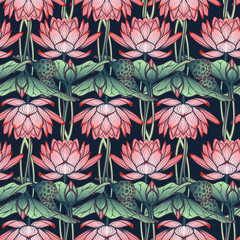 Lotus background. Floral pattern with water lilies isolated on white background. EPS10 vector illustration.