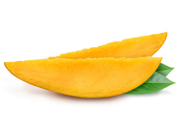 Juicy fresh two slices of mango with leaves isolated on a white background. Ripe tropical fruit with antioxidant effect.