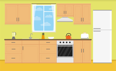 Kitchen in a flat style. Stock vector