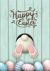 Easter motive, bunny bottom and easter eggs in fresh grass on blue wooden background, illustration