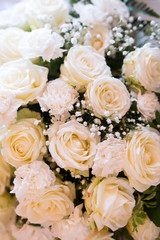 Closeup of white roses bouquet