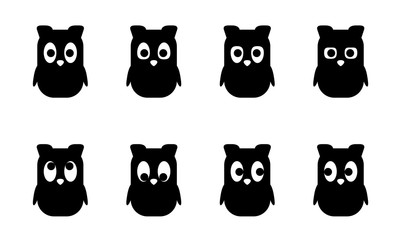 Cartoon set, cute Owl with different emotions, views. Simple flat style. Vector  Animals, nestling for games, animations, children's illustrations, element for the logo, corporate character, isolated