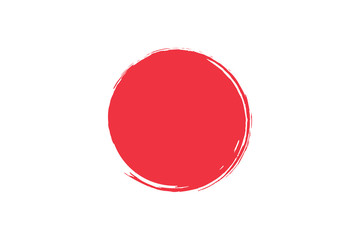 Flag of Japan with grunge effect. Japanese flag painted with ink. Red sun. Vector illustration Wall mural