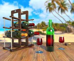 Wine bottles on a stand and glasses