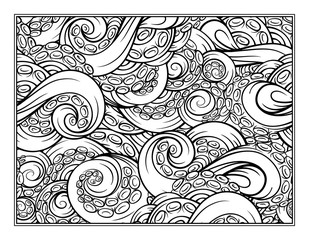 Octopus tentacles coloring pattern page