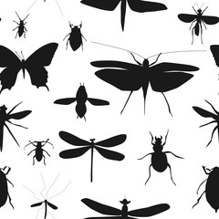 Silhouettes Set of Beetles, Dragonflies and Butterflies Seamless