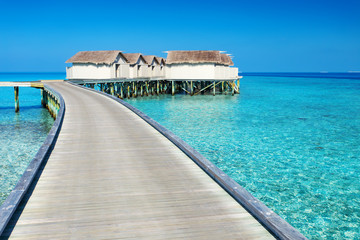 Water bungalows resort at islands. Indian Ocean, Maldives