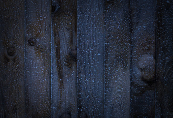 Texture. Dark old wood with hoarfrost. Wooden background with winter cold ice