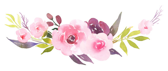Pink roses in bloom watercolor decoration bouquet