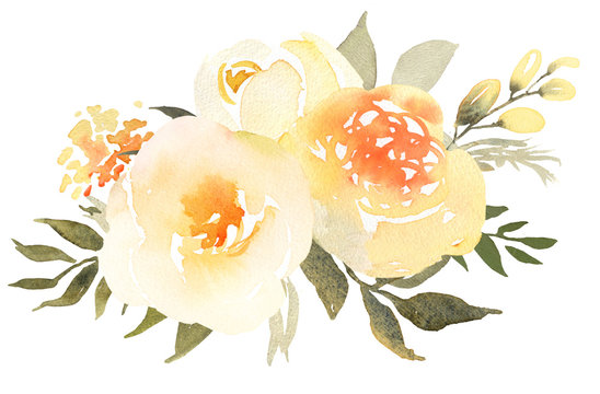 Yellow Roses in bloom watercolor decoration bouquet