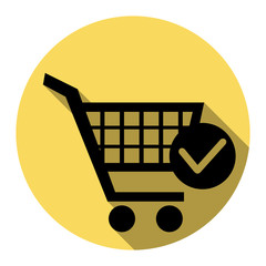 Shopping Cart with Check Mark sign. Vector. Flat black icon with flat shadow on royal yellow circle with white background. Isolated.