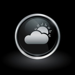 Weather symbol with sun and clouds icon inside round chrome silver and black button emblem on black background. Vector illustration.