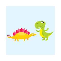 Two cute and funny baby dinosaur characters - stegosaurus and tyrannosaurus, cartoon vector illustration isolated on white background. Happy smiling stegosaurus and T-rex dinosaur characters