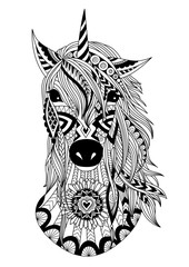 Zendoodle design of unicorn head for t-shirt design,design element and adult coloring book
