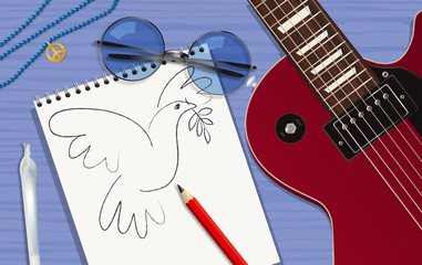 paix - musique - guitare - hippies - amour - colombe de la paix