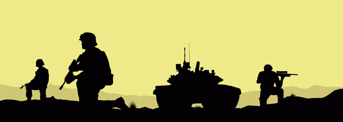Soldiers and a tank on the fulfillment of the combat mission