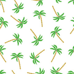 Seamless palm trees pattern. Vector illustration on a white background.