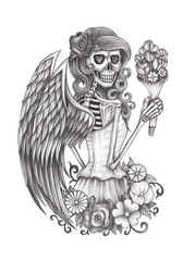 Art angel skull.Hand pencil drawing on paper.