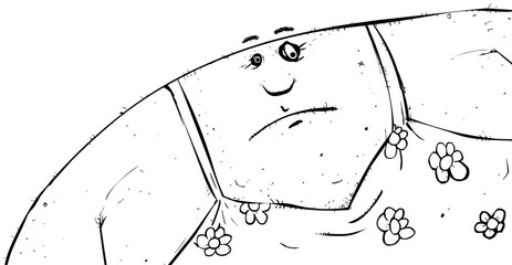 Black and white outline of a fat man wearing a dress cartoon character.