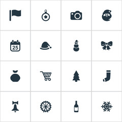 Vector Illustration Set Of Simple New Year Icons. Elements Bag, Drink Bottle, Photography And Other Synonyms Decoration, Ice And Flag.
