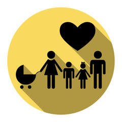 Family sign with heart. Husband and wife are kept children's hands. Vector. Flat black icon with flat shadow on royal yellow circle with white background. Isolated.