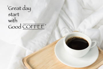 Inspiration quote with coffee cup background