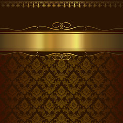 Decorative ornamental background with elegant golden border.