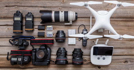 Equipment of a modern photographer with a drone