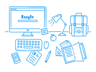 Office, workspace and workplace concept for web, hand drawn illustration