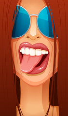 Close-up of sexy redhead woman's face in glasses sticking her tongue out