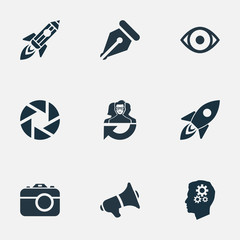 Vector Illustration Set Of Simple Visual Art Icons. Elements Zoom, View, Bullhorn And Other Synonyms Megaphone, Aperture And Browse.