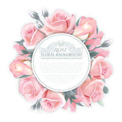 Vector Rose wreath. Template for wedding invitation, greeting card, banner, gift voucher for womans, etc. Quality watercolor imitation. Not trace