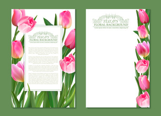 Set of vector vertical banner with pink tulip flowers. Spring tender design for natural cosmetics, perfume, florist shop. Realistic tulips. Not trace