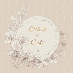 Vintage invitation with cherry blossom