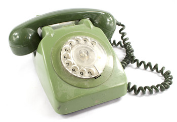 Green Old Fashioned Dial Telephone