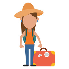woman traveling hat and suitcase vector illustration eps 10