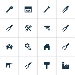 Vector Illustration Set Of Simple Wrench Icons. Elements Construction, Wrench, Home And Other Synonyms Drill, Mechanical And Nippers.