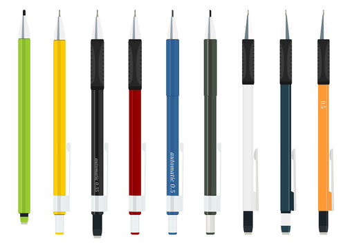 Set of automatic pencils on a white background. Flat vector.