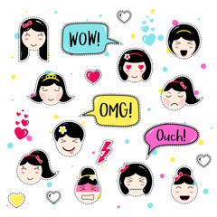 Set of cute patch badges. Girl emoji with different emotions and hairstyles. Kawaii emoticons, speech bubbles wow, omg, ouch. Set of stickers, pins in anime style. Isolated vector illustration.