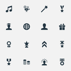 Vector Illustration Set Of Simple Champion Icons. Elements Medal, Cinema, Growth Diagram And Other Synonyms Prize, Surprise And Wand.