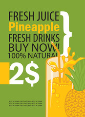 vector banner with pineapple, glass of juice and text on green background