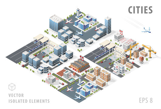 Set of Isolated High Quality Isometric City Maps on White Background