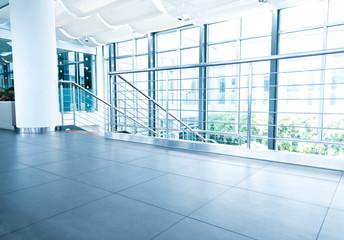 Empty hallway in a modern office building.