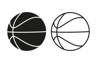 Set of icons of basketball balls. Filled and line basketball balls isolated on white background. Vector
