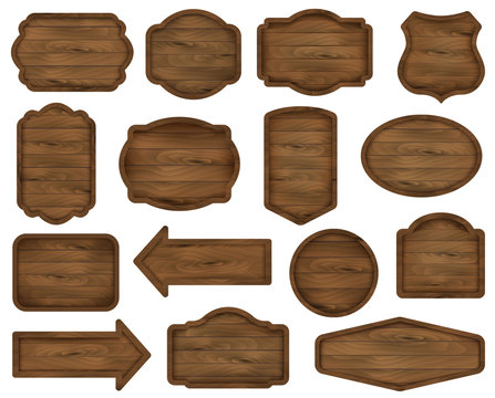 Wooden stickers, label collection. Set №7 of various shapes dark wooden sign boards for sale, price and discount banners, badges isolated on background. Vector realistic illustration.